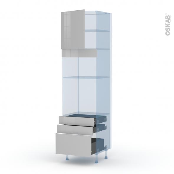 IVIA Gris - Kit Rénovation 18 - Colonne Four+MO 36/38 N°1659  - 1 porte 3 tiroirs - L60xH217xP60