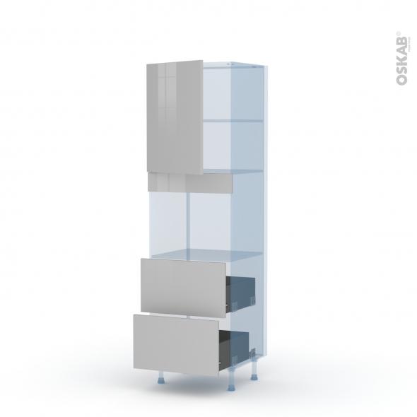 IVIA Gris - Kit Rénovation 18 - Colonne Four niche 45 N°2157  - 1 porte 2 casseroliers - L60xH195xP60