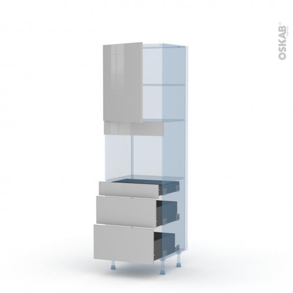 IVIA Gris - Kit Rénovation 18 - Colonne Four niche 45 N°2158  - 1 porte 3 tiroirs - L60xH195xP60