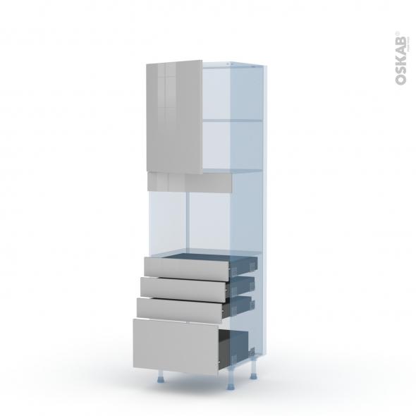 IVIA Gris - Kit Rénovation 18 - Colonne Four niche 45 N°2159  - 1 porte 4 tiroirs - L60xH195xP60