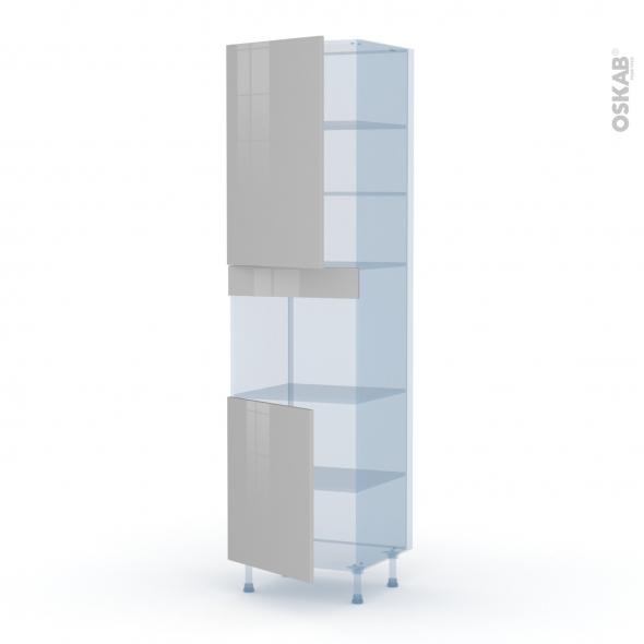 IVIA Gris - Kit Rénovation 18 - Colonne Four niche 45 N°2421  - 2 portes - L60xH217xP60