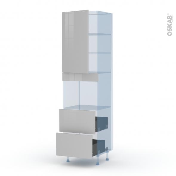 IVIA Gris - Kit Rénovation 18 - Colonne Four niche 45 N°2457  - 1 porte 2 casseroliers - L60xH217xP60