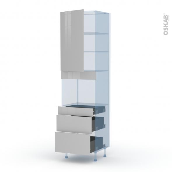 IVIA Gris - Kit Rénovation 18 - Colonne Four niche 45 N°2458  - 1 porte 3 tiroirs - L60xH217xP60