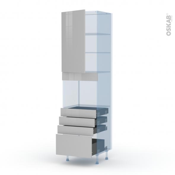IVIA Gris - Kit Rénovation 18 - Colonne Four niche 45 N°2459  - 1 porte 4 tiroirs - L60xH217xP60