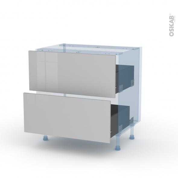 IVIA Gris - Kit Rénovation 18 - Meuble casserolier  - 2 tiroirs - L80xH70xP60