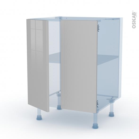 IVIA Gris - Kit Rénovation 18 - Meuble bas cuisine - 2 portes - L60xH70xP60
