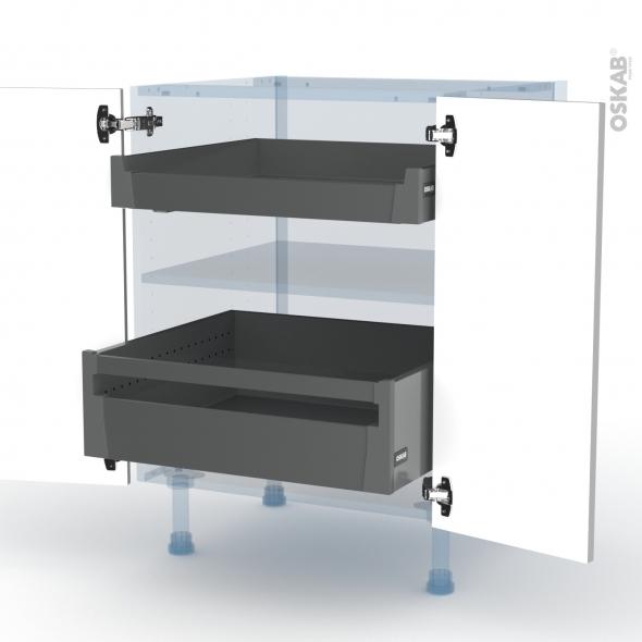 IVIA Gris - Kit Rénovation 18 - Meuble bas - 2 portes - 2 tiroirs ? l'anglaise - L60xH70xP60