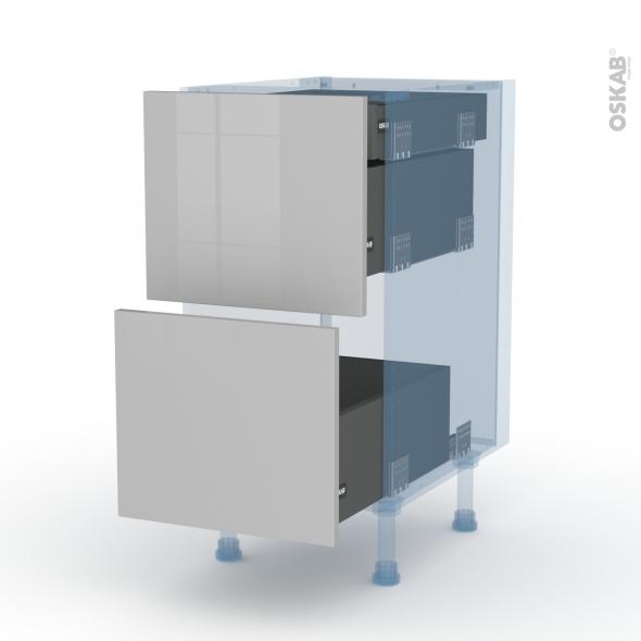 IVIA Gris - Kit Rénovation 18 - Meuble casserolier - 2 tiroirs-1 tiroir anglaise - L40xH70xP60