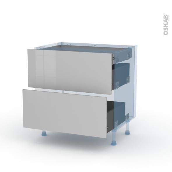 IVIA Gris - Kit Rénovation 18 - Meuble casserolier - 2 tiroirs - 1 tiroir anglaise - L80xH70xP60