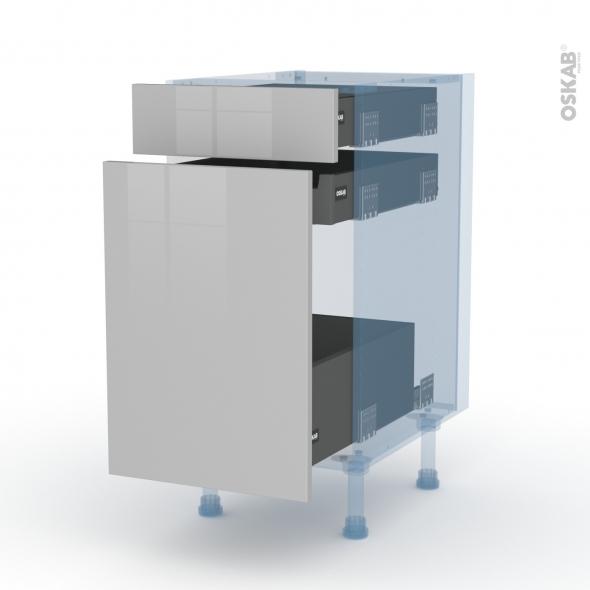 IVIA Gris - Kit Rénovation 18 - Meuble range épice - 3 tiroirs - L40xH70xP60