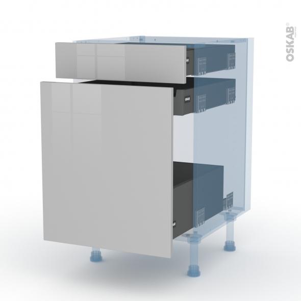 IVIA Gris - Kit Rénovation 18 - Meuble range épice - 3 tiroirs - L50xH70xP60