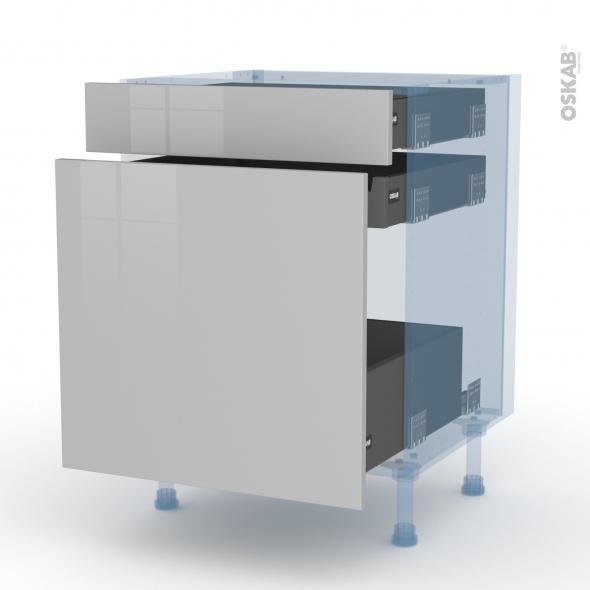 IVIA Gris - Kit Rénovation 18 - Meuble range épice - 3 tiroirs - L60xH70xP60