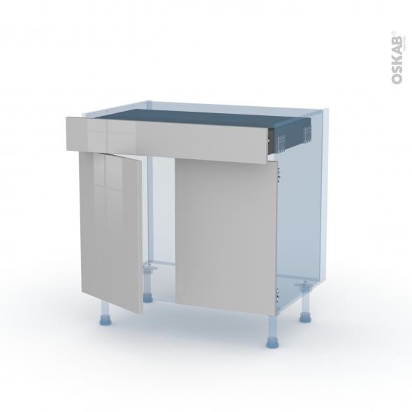 IVIA Gris - Kit Rénovation 18 - Meuble bas cuisine  - 2 portes 1 tiroir - L80xH70xP60