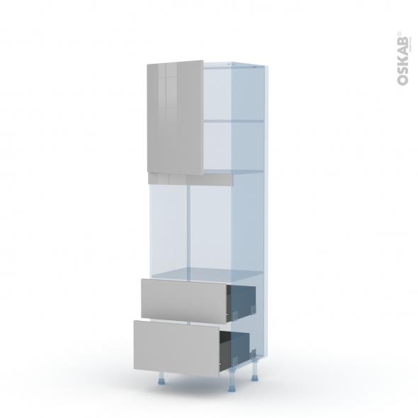 IVIA Gris - Kit Rénovation 18 - Colonne Four niche 60 N°2158 - 1 porte 2 casseroliers - L60xH195xP60