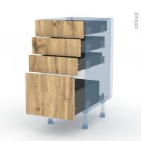 OKA Chêne - Kit Rénovation 18 - Meuble casserolier  - 4 tiroirs - L40xH70xP60