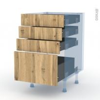 OKA Chêne - Kit Rénovation 18 - Meuble casserolier  - 4 tiroirs - L50xH70xP60