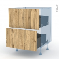OKA Chêne - Kit Rénovation 18 - Meuble casserolier  - 2 tiroirs - L60xH70xP60