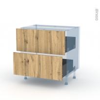 OKA Chêne - Kit Rénovation 18 - Meuble casserolier  - 2 tiroirs - L80xH70xP60