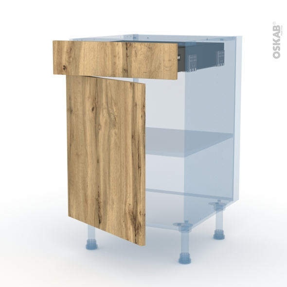 OKA Chêne - Kit Rénovation 18 - Meuble bas cuisine  - 1 porte 1 tiroir - L50xH70xP60