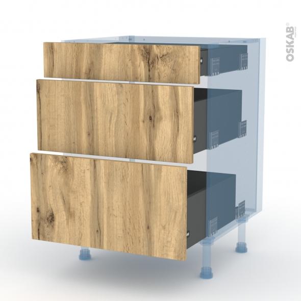 OKA Chêne - Kit Rénovation 18 - Meuble casserolier  - 3 tiroirs - L60xH70xP60