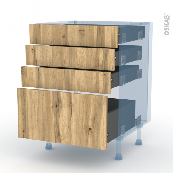 OKA Chêne - Kit Rénovation 18 - Meuble casserolier  - 4 tiroirs - L60xH70xP60
