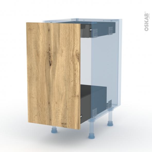 OKA Chêne - Kit Rénovation 18 - Meuble bas coulissant  - 1 porte-1 tiroir anglaise - L40xH70xP60