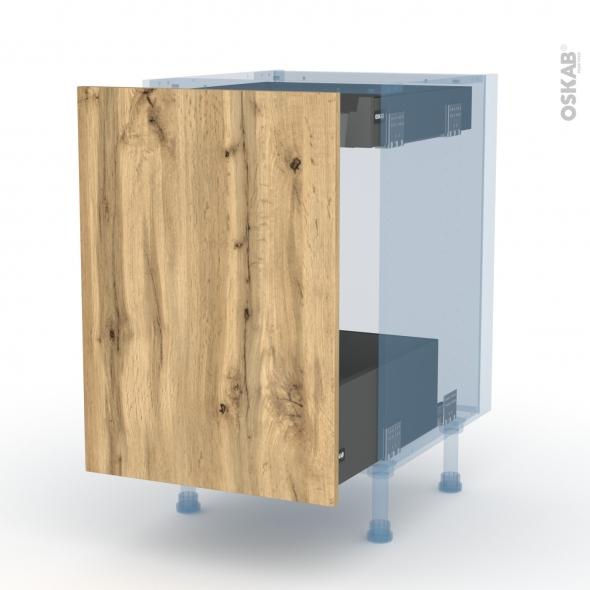 OKA Chêne - Kit Rénovation 18 - Meuble bas coulissant  - 1 porte -1 tiroir anglaise - L50xH70xP60