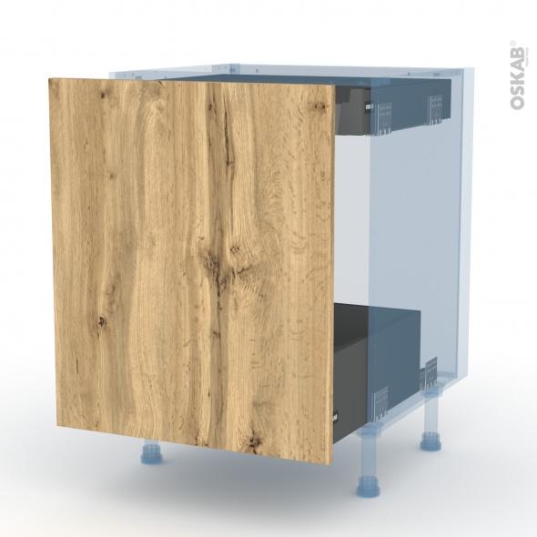 OKA Chêne - Kit Rénovation 18 - Meuble bas coulissant  - 1 porte -1 tiroir anglaise - L60xH70xP60