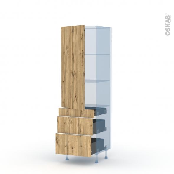 OKA Chêne - Kit Rénovation 18 - Armoire étagère N°2758  - 3 tiroirs casserolier - L60xH195xP60