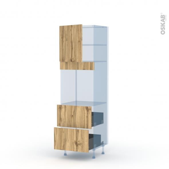 OKA Chêne - Kit Rénovation 18 - Colonne Four N°1657  - 1 porte 2 casseroliers - L60xH195xP60