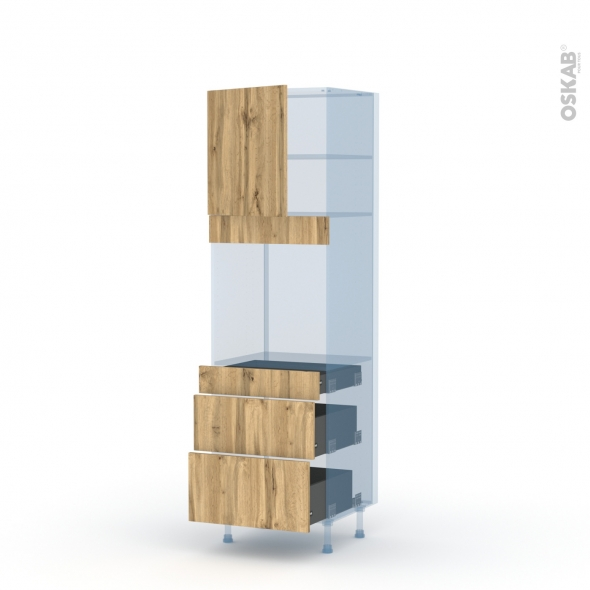 OKA Chêne - Kit Rénovation 18 - Colonne Four N°1658  - 1 porte 3 tiroirs - L60xH195xP60