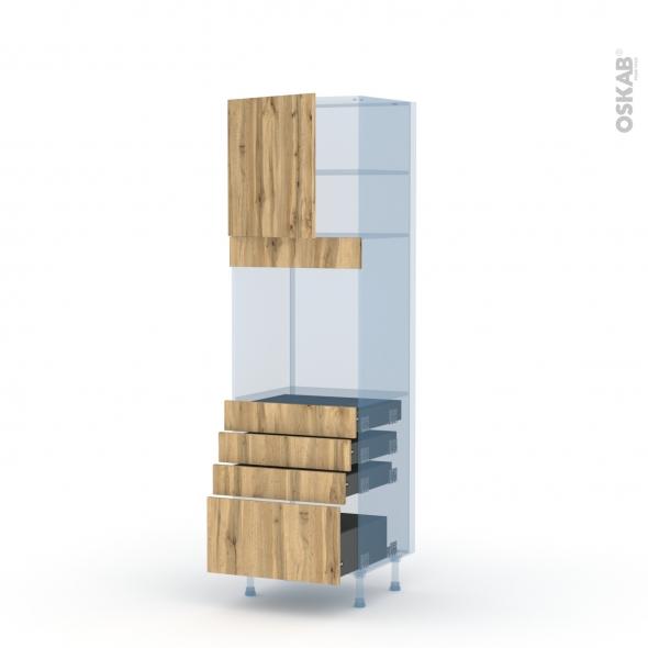 OKA Chêne - Kit Rénovation 18 - Colonne Four N°1659  - 1 porte 4 tiroirs - L60xH195xP60