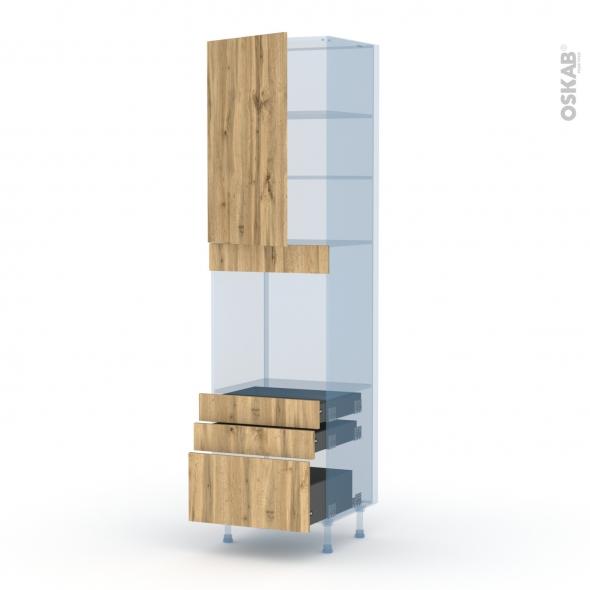 OKA Chêne - Kit Rénovation 18 - Colonne Four N°2459  - 1 porte 3 tiroirs - L60xH217xP60