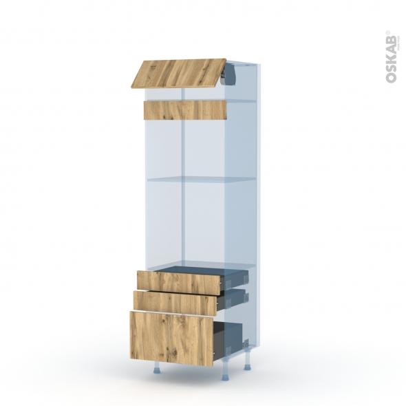 OKA Chêne - Kit Rénovation 18 - Colonne Four+MO 45 N°559  - 1 abattant 3 tiroirs - L60xH195xP60