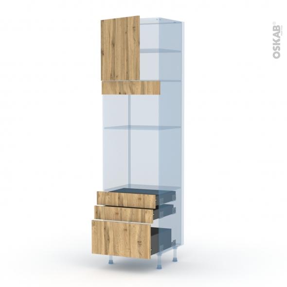 OKA Chêne - Kit Rénovation 18 - Colonne Four+MO 36/38 N°1659  - 1 porte 3 tiroirs - L60xH217xP60