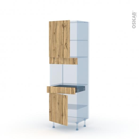 OKA Chêne - Kit Rénovation 18 - Colonne Four niche 45 N°2156  - 2 portes 1 tiroir - L60xH195xP60