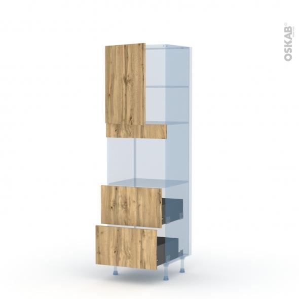 OKA Chêne - Kit Rénovation 18 - Colonne Four niche 45 N°2157  - 1 porte 2 casseroliers - L60xH195xP60