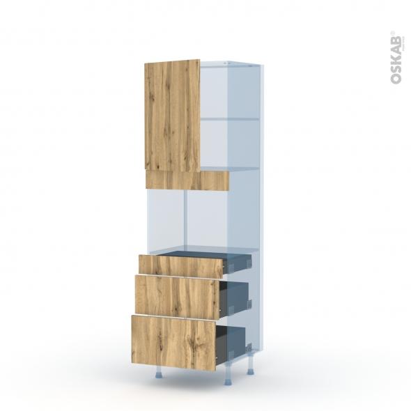 OKA Chêne - Kit Rénovation 18 - Colonne Four niche 45 N°2158  - 1 porte 3 tiroirs - L60xH195xP60