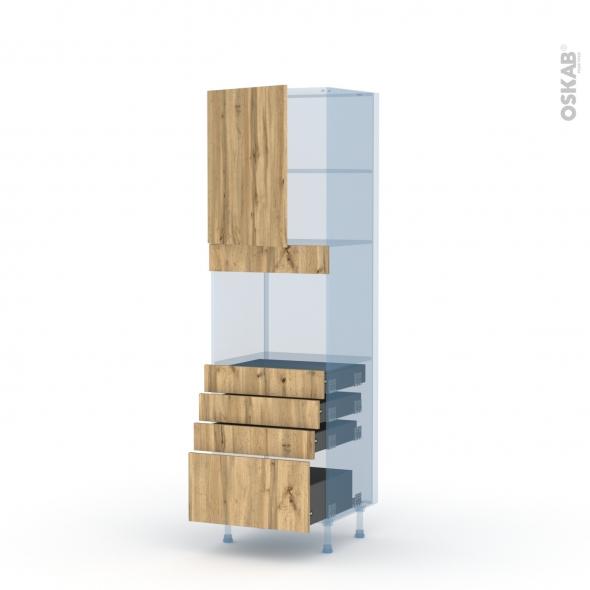 OKA Chêne - Kit Rénovation 18 - Colonne Four niche 45 N°2159  - 1 porte 4 tiroirs - L60xH195xP60