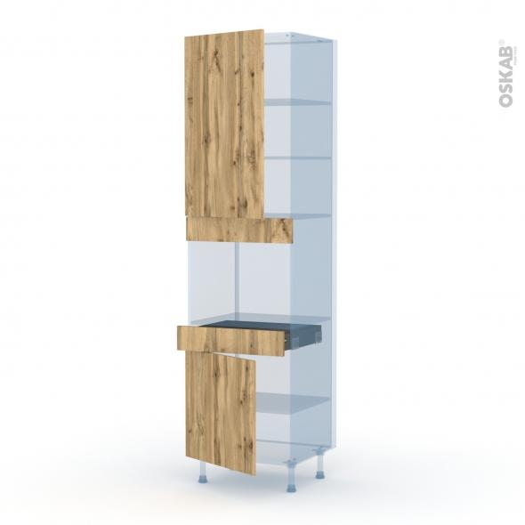 OKA Chêne - Kit Rénovation 18 - Colonne Four niche 45 N°2456  - 2 portes 1 tiroir - L60xH217xP60