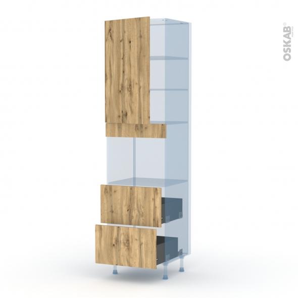 OKA Chêne - Kit Rénovation 18 - Colonne Four niche 45 N°2457  - 1 porte 2 casseroliers - L60xH217xP60