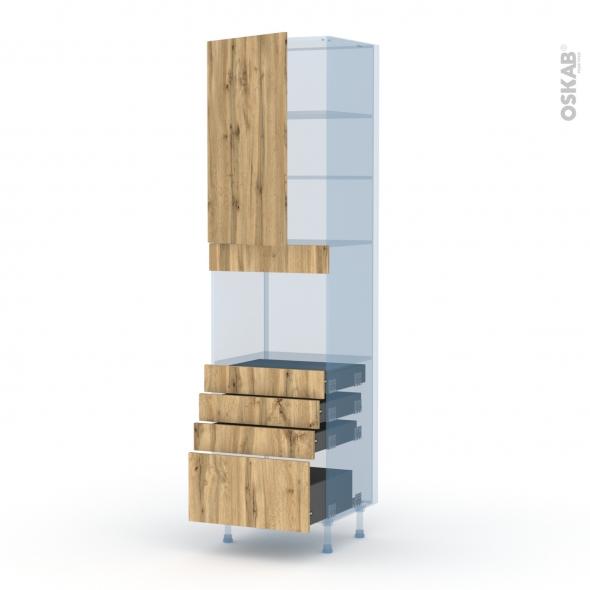 OKA Chêne - Kit Rénovation 18 - Colonne Four niche 45 N°2459  - 1 porte 4 tiroirs - L60xH217xP60