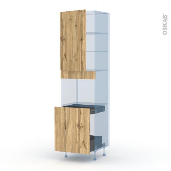 OKA Chêne - Kit Rénovation 18 - Colonne Four N°2416 - 1 porte -1 porte coulissante - L60xH217xP60
