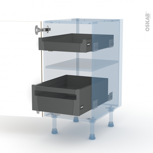 OKA Chêne - Kit Rénovation 18 - Meuble bas - 2 tiroirs à l'anglaise - L40xH70xP60