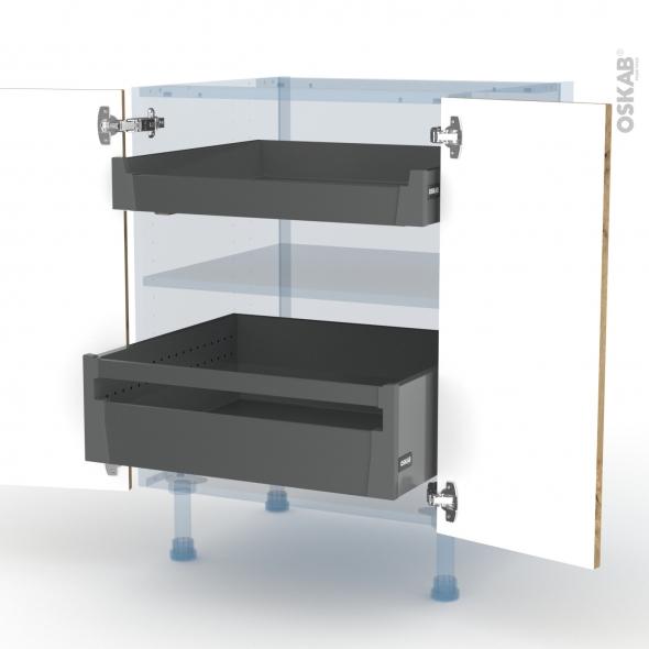 OKA Chêne - Kit Rénovation 18 - Meuble bas - 2 portes - 2 tiroirs ? l'anglaise - L60xH70xP60