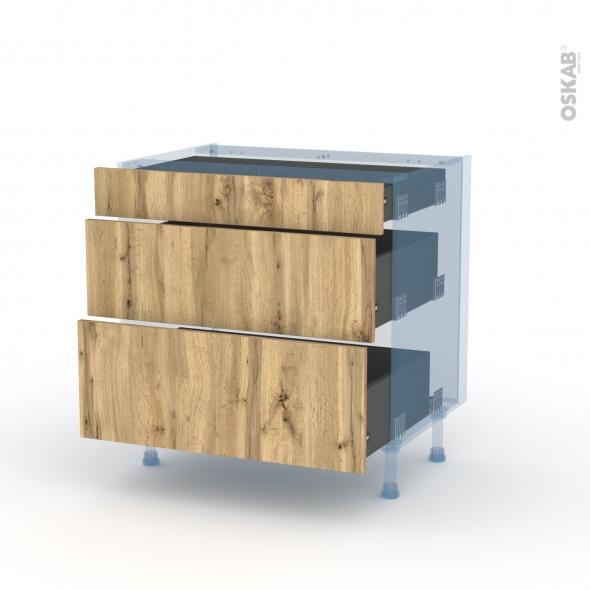 OKA Chêne - Kit Rénovation 18 - Meuble casserolier - 3 tiroirs - L80xH70xP60