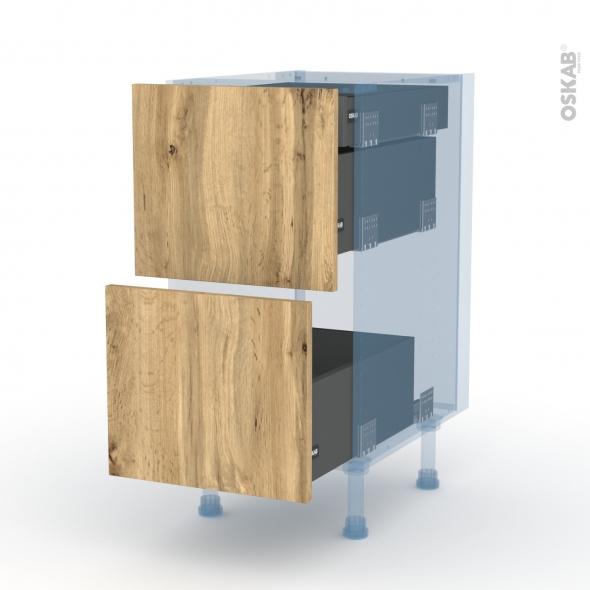 OKA Chêne - Kit Rénovation 18 - Meuble casserolier - 2 tiroirs-1 tiroir anglaise - L40xH70xP60