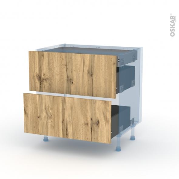 OKA Chêne - Kit Rénovation 18 - Meuble casserolier - 2 tiroirs - 1 tiroir anglaise - L80xH70xP60
