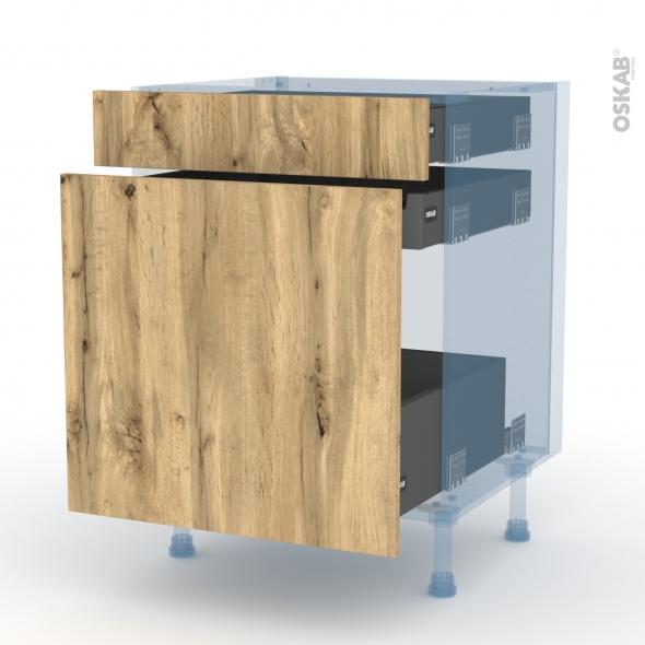 OKA Chêne - Kit Rénovation 18 - Meuble range épice - 3 tiroirs - L60xH70xP60