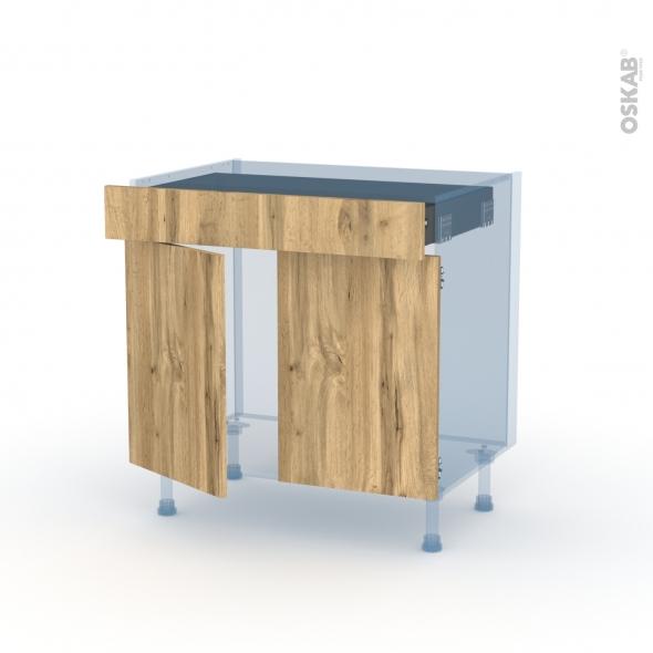 OKA Chêne - Kit Rénovation 18 - Meuble bas cuisine  - 2 portes 1 tiroir - L80xH70xP60